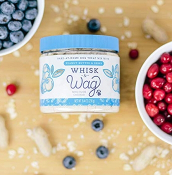 Whisk & Wag Natural Healthy Homemade Dog Treats, Bake at Home Biscuit Mix - Peanut Butter & Berry Best for Healthy Skin and Coat
