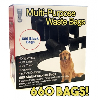 Multi Purpose Waste Bags - Includes 2 Dispensers 660 Total Bags! - SHIPS FREE!