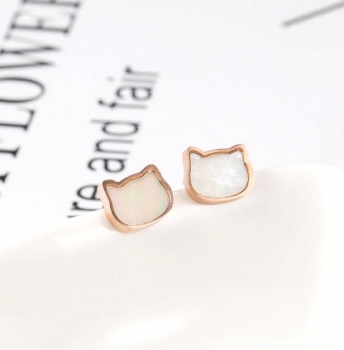 Titanium Rose Gold Cat Stud Earrings