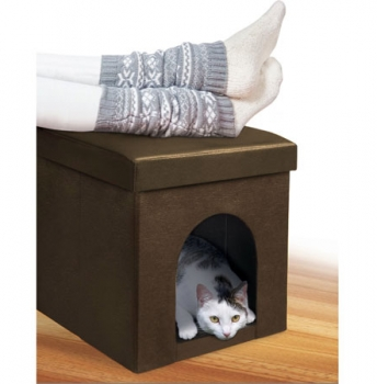 Pet Ottoman by Pet Parade - Gives Your Pet A Spot Of His Own! Works as a padded foot rest for you, and a perfect hide-away for your furry friend! - SHIPS FREE!