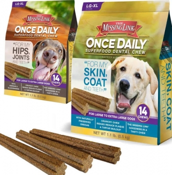 CLEARANCE DEAL - THREE Bags of The Missing Link Once Daily Super-food Dental Chew -Choose Hips & Joints or Skin and Coat! Available for Large Dogs or Small/Medium Dogs! Treat your dog and help their health at the same time! Currently $12 - $25 PER BAG on Amazon with 4.7/5 reviews! - You're paying just $4.99 per bag! EVEN BETTER, order 3 or more 3-packs for just $11.97, just $3.99 per bag! MADE IN THE USA! THIS IS A STEAL! NOTE: Large can be used for smaller dogs, just break them up :) - SHIPS FREE AND IMMEDIATELY!